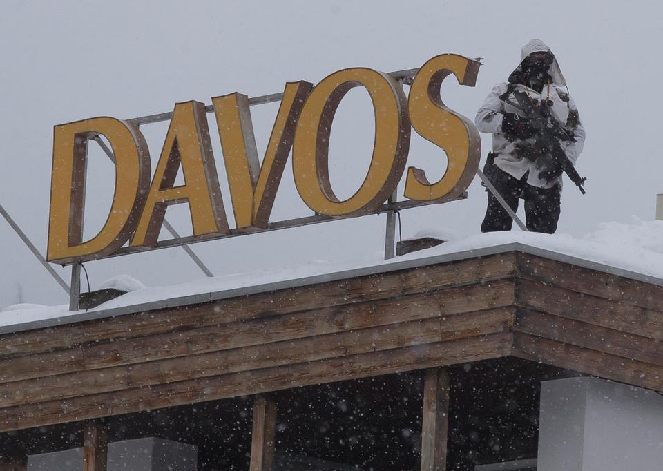 Sikkerheden er enorm ved Davosmødet. Arkivfoto: Michel Euler, AP