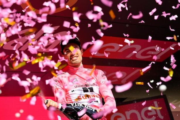 Tom Dumoulin er den ny hovedperson i Giroens lyserøde show. Foto: La Presse-D'Alberto/Ferrari.,