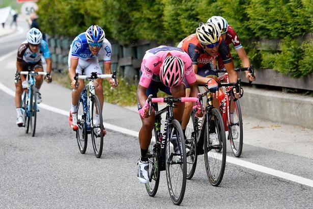 De fem rivaler Nairo Quintana, Vincenzo Nibali, Ilnur Zakarin, Thibaut Pinot og Domenico Pozzovivo dannede i går fælles front. I dag er de helt på egen hånd. Foto: La Presse-D'Alberto/Ferrari/Paolone/Spada.
