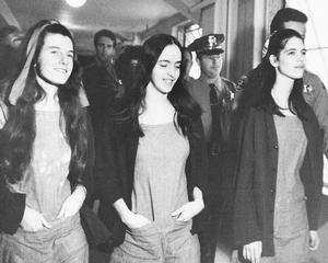 Three members of Charles Manson's hippie style clan leave a Los Angeles Courtroom just after being found guilty, along with Manson of first degree murder, Jan. 25, 1971, Los Angeles, Calif. From left to right are, Patricia Krenwinkel, Susan Atkins and Leslie Van Houten. (AP Photo/Pool). Keywords: Close Up