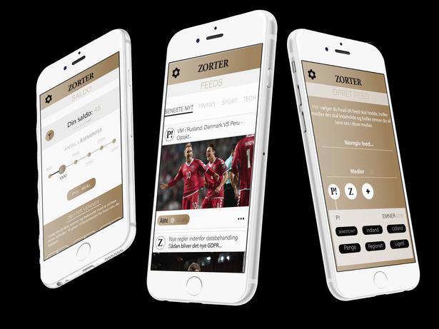 Prototypen af Zorter, der vil give brugeren mulighed for at designe indholdet i sin egen digitale avis.