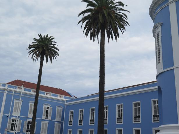 Ponta Delgada har flere farverige bygninger, og nogle af dem kunne lige så godt ligge i cubanske Havanas gader.