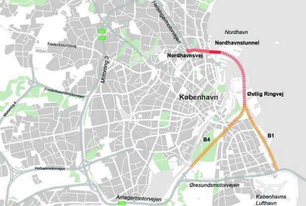 Som en del af projektet etableres en havnetunnel og en ny østlig ringvej. (Kort fra Transportministeriet)