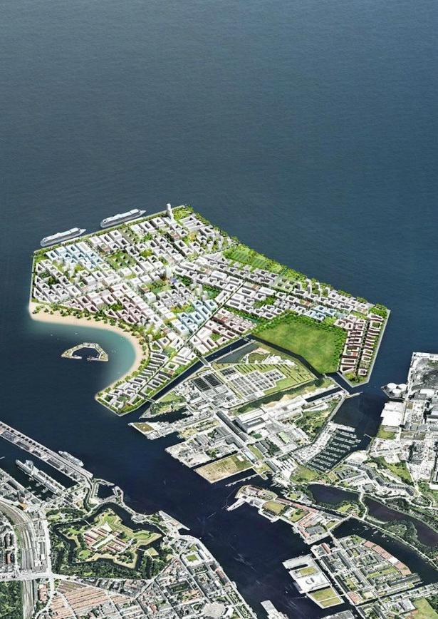 Lynetteholmen kommer den nye bydel mellem Nordhavn og Refshaleøen til at hedde. (Visualisering fra Transportministeriet)