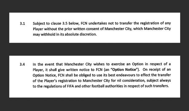 In 2016 the owner and president of FC Nordsjælland signed an agreement with Manchester City. Here are parts of the deal which made sure that the English club had a first option to sign African players from the Right to Dream academy in the Danish club - and that Manchester City had to give a written consent if FC Nordsjælland was to sell any of the players to a third club.