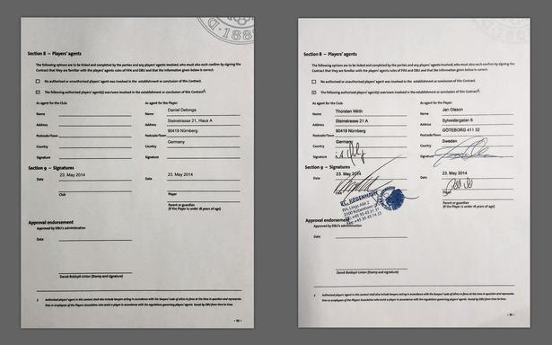 Siden til venstre er fra et kontraktudkast 21. maj 2014 og viser, hvordan FC København først opfattede agentforholdene, da klubben hentede Per Nilsson. Siden til højre er fra 23. maj 2014 og viser slutresultatet, efter at agenturet foreslog at stå på klubsiden i stedet for at spare spilleren skat.