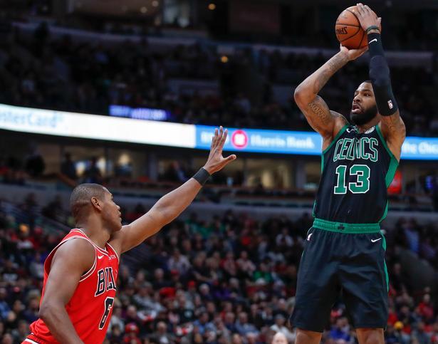 Marcus Morris (th.) var med til at vinde den største sejr nogen sinde for Boston Celtics.