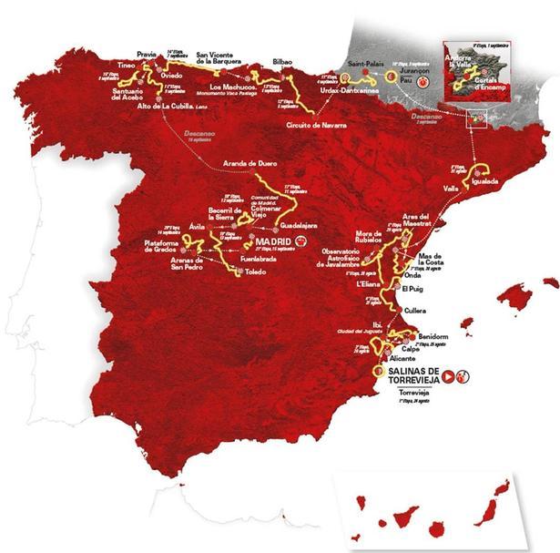 Vueltaen starter i Alicante-provinsen og bevæger sig derefter nordpå for at slutte med fem etaper i det centrale Spanien.