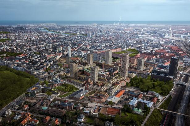 Denne visualisering viser, hvordan tårnene i Carlsberg vil skyde op.