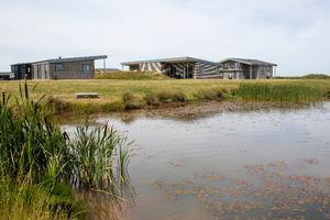 De første huse i den kommende Søndervig Feriepark, her set fra et af de vandhuller, der indgår i projektområdet, blev bygget på dispensation for flere år siden.