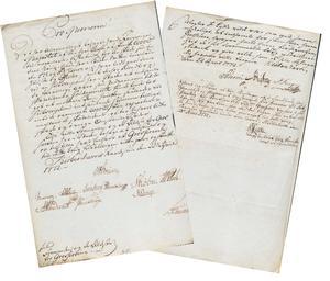Brevet i Grosserer-Societetets arkiv, hvor grossererne blev bedt om hjælp, men afslog.