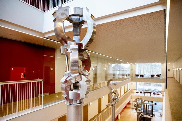 'Angelus Novus' betyder 'den nye engel', og hos Bjørn Poulsen optræder denne med cirkelslag af englevingefragmenter, der lige præcis er til at genkende i abstraktionen. Skulpturerne kan opleves både uden og inden for Rigshospitalets Patienthotel.