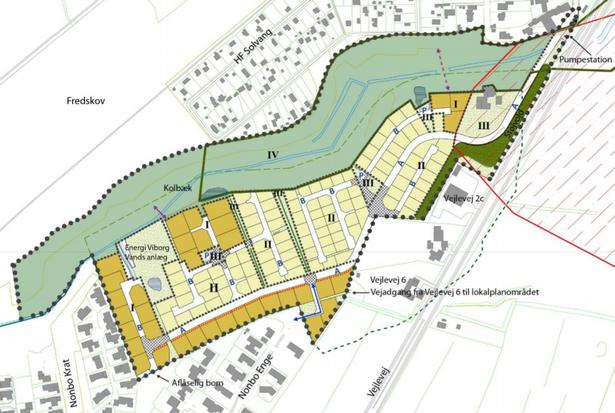Det lyse områder er tæt-lav-bebyggelse, mens de orange er åben-lav.