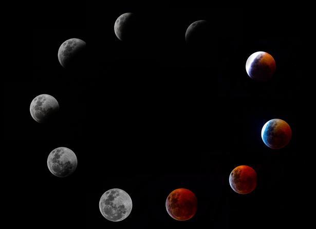 Her kan man se det forskellige faser Månen antog, da den gled ind in skyggen af Jorden og blev formørket for til sidst at antage den rustrøde farve. Billederne er taget fra Panama City i Florida, USA. Foto: Luis ACOSTA / AFP)