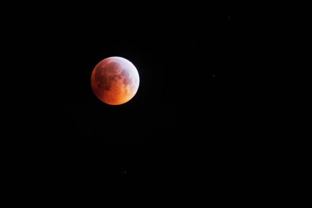 Her til morgen havde Brorfelde Observatorium inviteret til 'Morgenkaffe og måneformørkelse'. De morgenfriske fik ca. fem minutter af den totale måneformørkelse. Thomas Mørkeberg var en af dem, og han tog dette billede kl. 5.41. Foto: Thomas D. Mørkeberg.