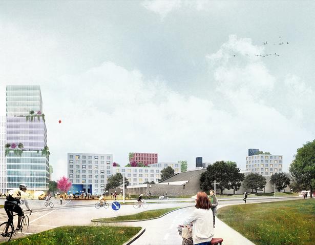 Sådan viser arkitekternes visualisering, hvordan området kan komme til at se ud.