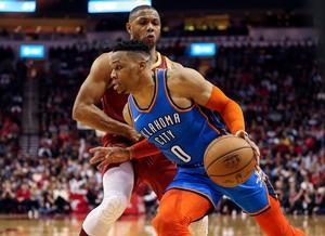 Oklahoma City Thunders Russell Westbrook (0)viser i denne sæson forrygende form i NBA.
