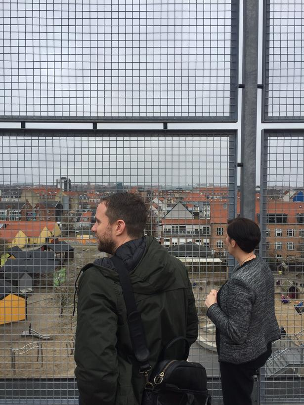 På taget af Frederiksbjerg Skole er der offentlige basketballbaner og mulighed for at se sin by fra tagets top.