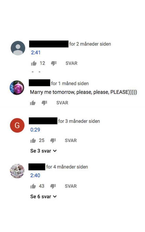 I kommentarsporet under Youtube-videoen af Dianna Bertelsens børn, der hopper på havetrampolin, har brugere med tidskoder markeret præcis hvor i videoen, de finder indholdet særligt interessant. Andre bkommer med anstødelige kommentarer.