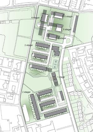 Illustrationen af projektet i lokalplanforslaget. Skyggerne viser de nuværende 12 længer, de hvide bygninger og etagebetegnelser er det nye forslag.