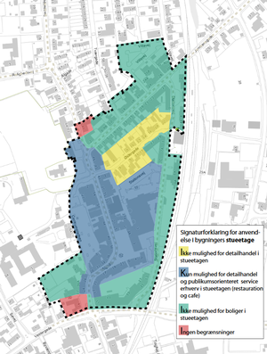 Lokalplanforslagets illustration af den ny afgrænsning af Ringes bymidte.