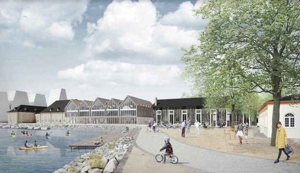 Visualisering - af Gjöde og Partnere Arkitekter - fra Trangravspladsen. Omridset til venstre er det kommende Papirøen. Herefter ses de historiske bygninger, så de nyopførte og derefter det genopførte skur.