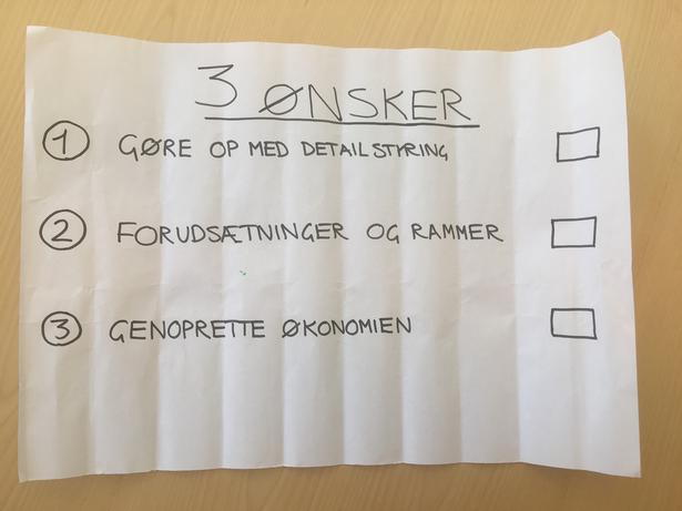 I januar 2017 fremsatte Anders Bondo tre ønsker til Merete Riisager.