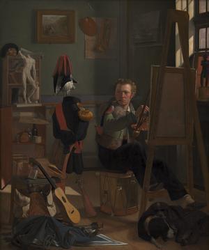 Ditlev Blunck: 'En Bataljemaler, Jørgen Sonne, i sit Atelier', ca. 1826.