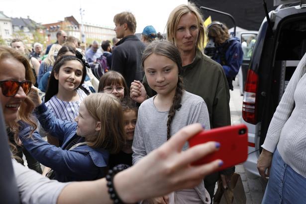 Greta Thunberg efter at hun har holdt sin tale.