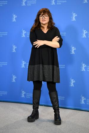 Director Isabel Coixet poses for photographers during a photo-call on the film 'Elisa und Marcela' at the 2019 Berlinale Film Festival in Berlin, Germany, Wednesday, Feb. 13, 2019. (Britta Pedersen/dpa via AP)