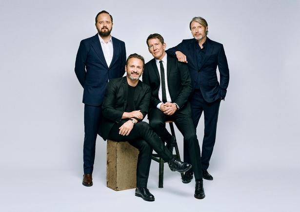 De fire hovedroller i 'Druk' spilles af Magnus Millang, Lars Ranthe, Thomas Bo Larsen og Mads Mikkelsen.