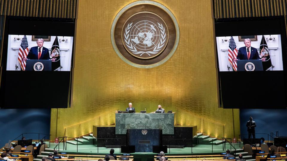 Trump holdt sin korteste FN-tale nogensinde. Men budskabet...