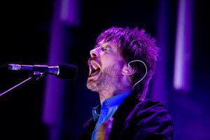 Radiohead med Thom Yorke i forgrunden gav koncert på Orange scene ved Roskilde festivalen.