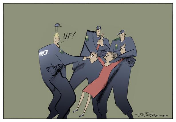 Friluftsudstilling Med 100 Ars Politiske Satire Demonstrerer