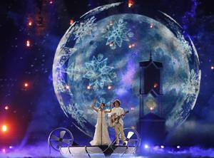 """NaviBand from Belarus performs the song """"Historyja Majho Zyccia"""" during rehearsals for the Eurovision Song Contest, in Kiev, Ukraine, Friday, May 12, 2017. The final of The Eurovision Song Contest 2017 will be held on May 13. (AP Photo/Sergei Chuzavkov)"""